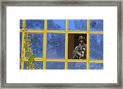 U.s. Army Soldier Provides Security Framed Print
