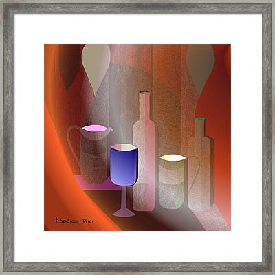 643 - Still Life  With Bottles  Cups  And A Glass Framed Print