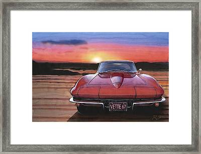 Framed Print featuring the painting '67 Corvette Sunset by Rod Seel