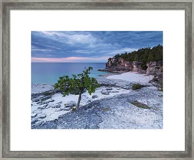 Georgian Bay Cliffs At Sunset Framed Print by Oleksiy Maksymenko