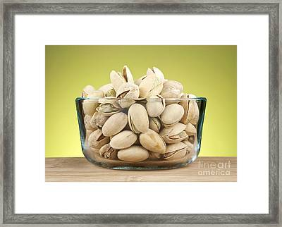Pistachios In Bowl Framed Print