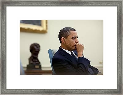 President Barack Obama Meets Framed Print