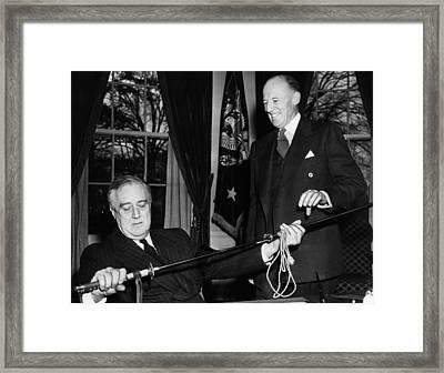 President Franklin D. Roosevelt Left Framed Print by Everett