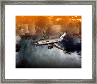 Framed Print featuring the digital art 737 Ua 20x16 01 by Mike Ray