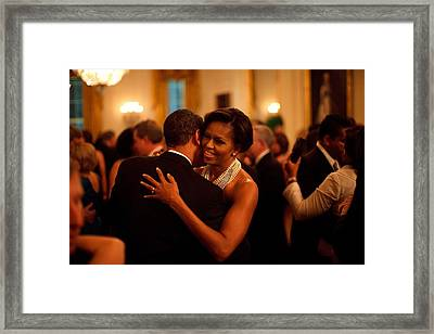 President And Michelle Obama Dance Framed Print