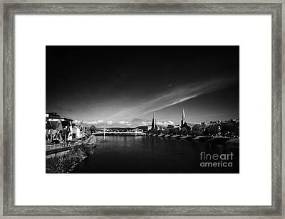 River Ness Flowing Through Inverness City Highland Scotland Uk Framed Print by Joe Fox