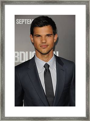Taylor Lautner At Arrivals Framed Print by Everett