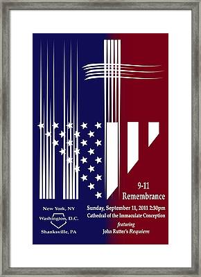 Framed Print featuring the digital art 9-11 Rememberance by Jane Bucci