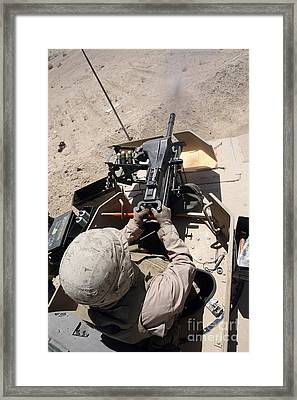 A 40 Mm Grenade Flies From The Muzzle Framed Print