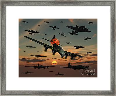 A B-17 Flying Fortress Is Set Ablaze Framed Print by Mark Stevenson