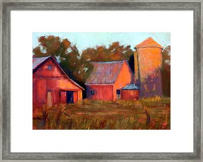A Barn At Sunset Framed Print by Cheryl Whitehall
