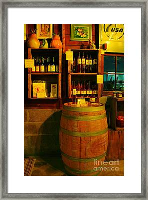 A Barrel And Wine Framed Print by Jeff Swan
