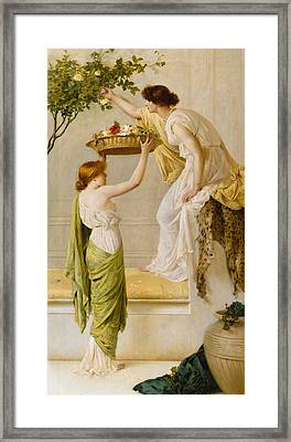A Basket Of Roses - Grecian Girls Framed Print by Henry Thomas Schaefer