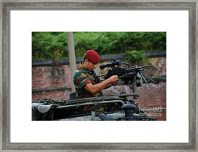 A Belgian Paratrooper Of The 1st Framed Print by Luc De Jaeger