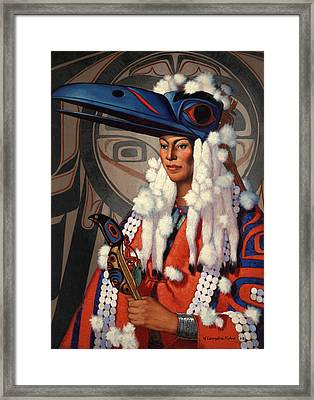 A Bellacoola Woman Wears A Raven Framed Print by W. Langdon Kihn