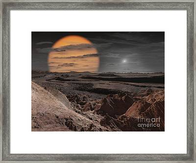A Binary Star System Consisting Framed Print by Ron Miller