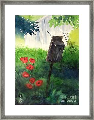 Framed Print featuring the painting A Bird House In The Geddes Farm --ann Arbor Michigan by Yoshiko Mishina