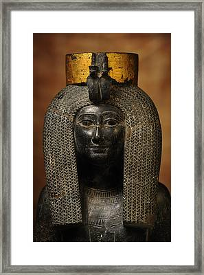 A Black Grantie Statue Of Isis Framed Print by Kenneth Garrett