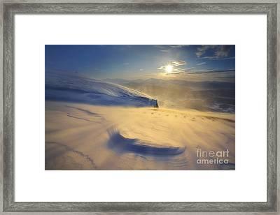 A Blizzard On Toviktinden Mountain Framed Print by Arild Heitmann