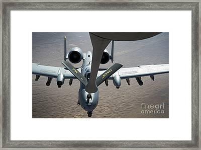 A Boom Operator Refuels An A-10 Framed Print by Stocktrek Images