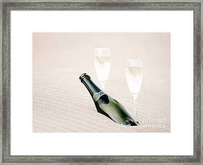 A Bottle Of Champagne With Two Glasses Framed Print by Iryna Shpulak