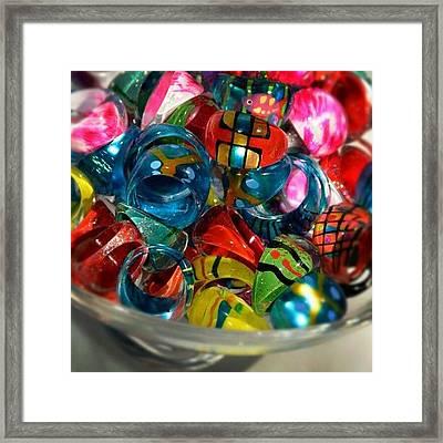 A Bowl Of Handblown Glass Rings #cute Framed Print
