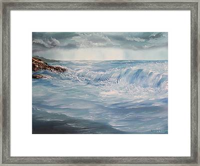 Framed Print featuring the painting A Break In Storm by Christie Minalga