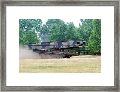 A Bridgelayer In Use By The Belgium Framed Print by Luc De Jaeger
