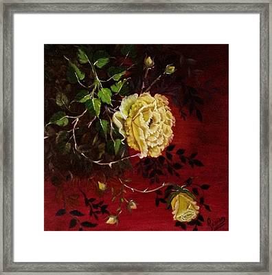 A Bright Hope Yellow Roses Framed Print by Praisey Peter