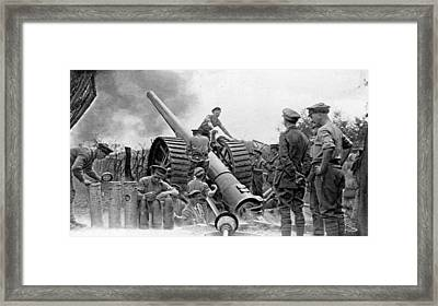 A British Heavy Gun In Action, British Framed Print by Everett