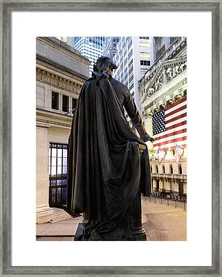 A Bronze Statue Of George Washington Framed Print by Justin Guariglia