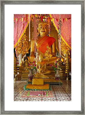 A Buddha At A Wat On The Angkor Temples Framed Print