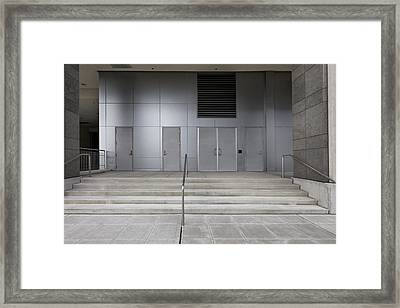 A Building In The City. Steps And Steel Framed Print