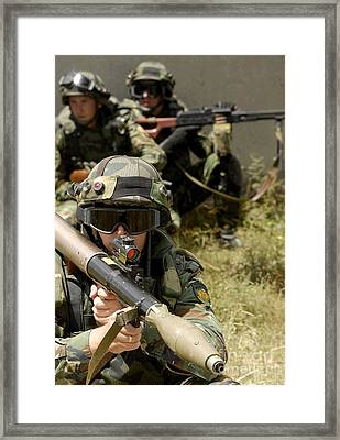 A Bulgarian Army Soldier, Scans Framed Print