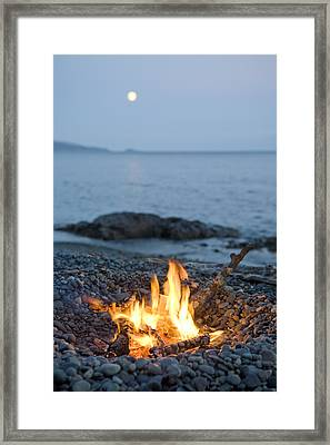 A Campfire On A Beach With A Full Moon Framed Print by Taylor S Kennedy