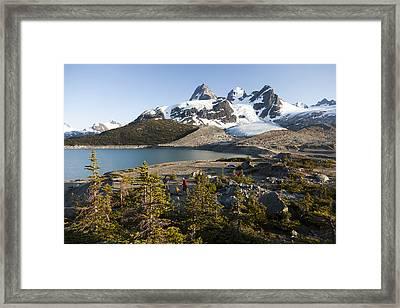 A Campsite Next To A Blue Glacier Fed Framed Print
