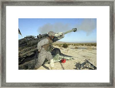 A Cannoneer Uses His Body To Pull Framed Print by Stocktrek Images