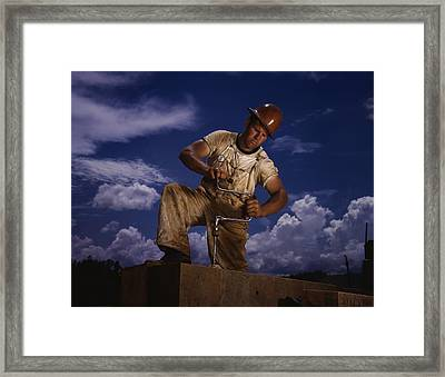 A Carpenter Working At The Tennessee Framed Print by Everett