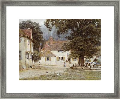 A Cart By A Village Inn Framed Print by Helen Allingham