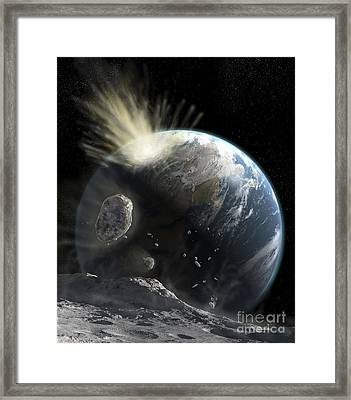 A Catastrophic Comet Impact On Earth Framed Print by Steven Hobbs