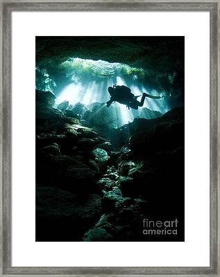 A Cavern Diver Enters The Taj Mahal Framed Print