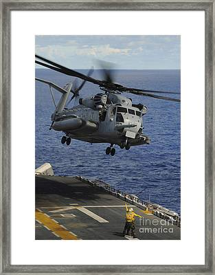 A Ch-53e Sea Stallion Helicopter Takes Framed Print
