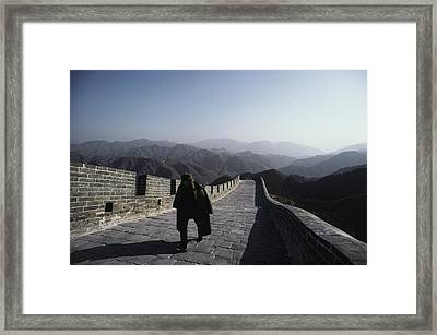 A Chinese Soldier Patrols The Great Framed Print by James P. Blair