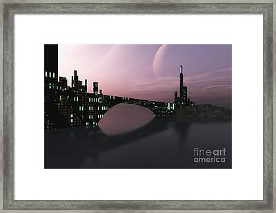A City Is Reflected In Calm Waters Framed Print