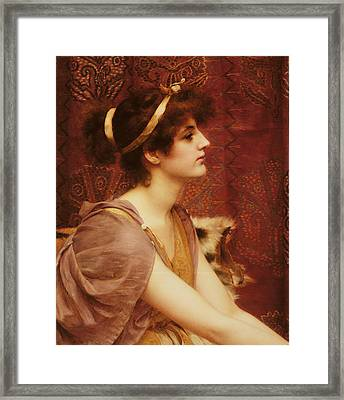 A Classical Beauty Framed Print by John William Godward
