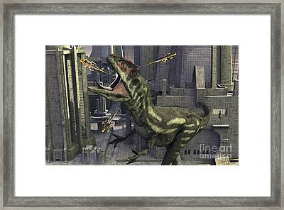 A Cloned Allosaurus Being Sedated Framed Print by Mark Stevenson