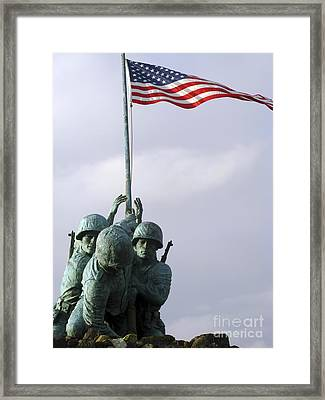 A Close Up Of The Iwo Jima Bronze Framed Print by Michael Wood