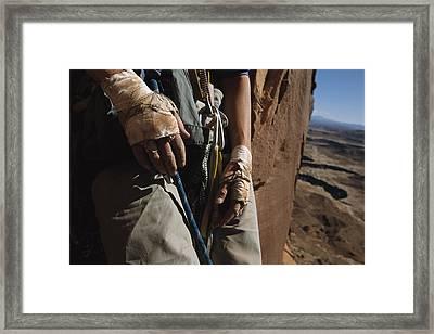 A Close View Of Rock Climber Becky Framed Print by Bill Hatcher