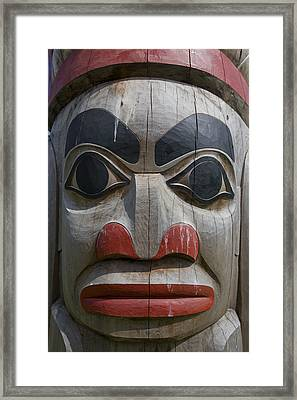 A Close View Of The Carvings Of A Totem Framed Print by Taylor S. Kennedy