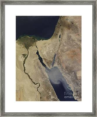 A Cloud Of Tan Dust From Saudi Arabia Framed Print by Stocktrek Images